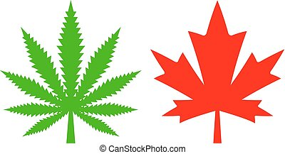 Hemp and maple leaf icon