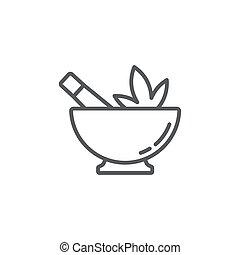 Hemp bowl vector icon symbol isolated on white background