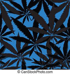 Hemp floral seamless background, cannabis leaf background...