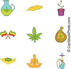 Hemp icons set, cartoon style