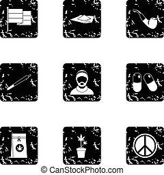 Hemp icons set, grunge style