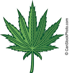 Hemp Leaf - A stylized, green hemp leaf