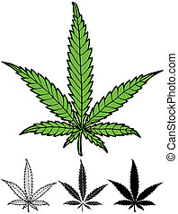 Hand drawn hemp leaf in 4 versions, including silhouette.
