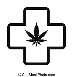 Hemp leaf with cross icon, black simple style - Hemp leaf...