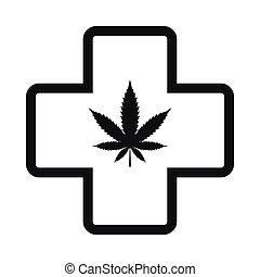 Hemp leaf with cross icon, black simple style