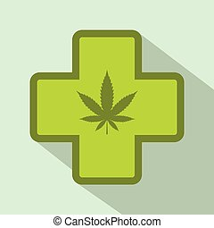 Hemp leaf with cross icon, flat style