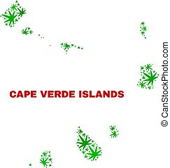Hemp Leaves Collage Cape Verde Islands Map