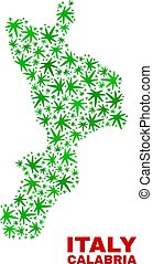Hemp Leaves Mosaic Calabria Region Map - Vector marijuana...