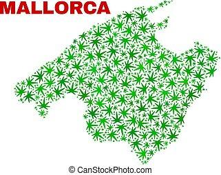 Hemp Leaves Mosaic Mallorca Map - Vector cannabis Mallorca...
