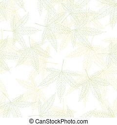 Hemp leaves seamless pattern, vector, EPS8