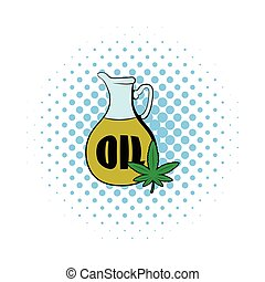 Hemp oil and cannabis leaf icon, comics style - Hemp oil and...
