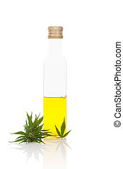 Hemp oil in bottle.