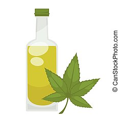 Hemp oil in bottle. Vector flat isolated icon