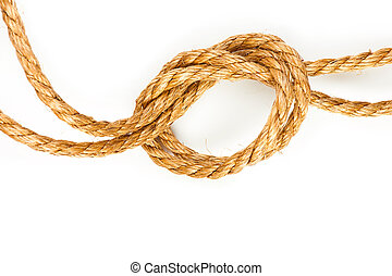 Macro of hemp rope with knot on white background with shadow