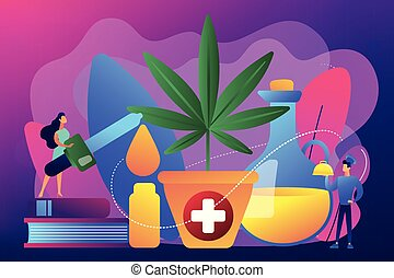Hemp seed oil concept vector illustration.