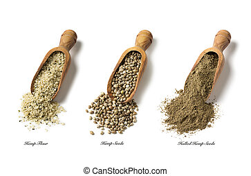 Hemp seeds and flour isolated on a white background