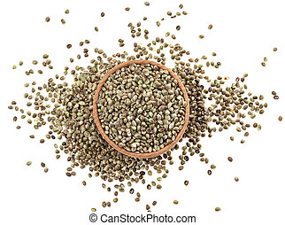 Hemp seeds in bowl isolated on white background, top view