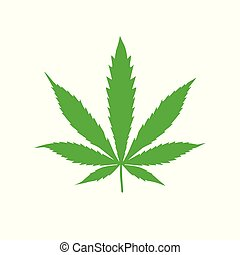 Hemp sign illustration. Vector. Green icon on a white background.