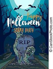 hemsökt av spöken, halloween, illustration, måne, zombie, ...