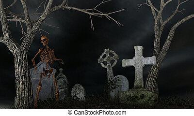 hemsökt av spöken, kyrkogård, skelett