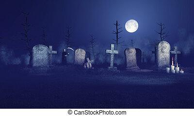 hemsökt av spöken, skördeman, hård, kyrkogård, natt