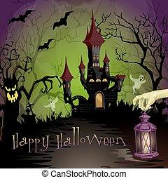 hemsökt av spöken, slott, halloween scen, natt