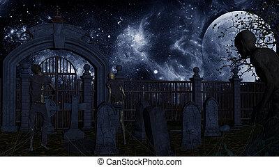 hemsökt av spöken, vandrande, kyrkogård, död