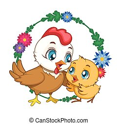 Hen and chick illustration with flower background ( for Easter, Mother's Day etc. )