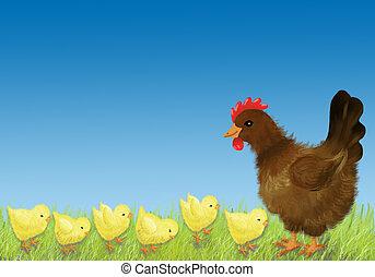 Hen and chicken - Brown hen with six chicken