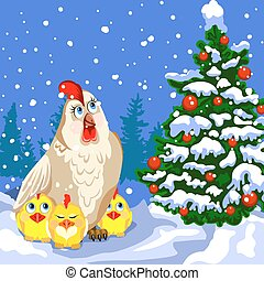 Hen and chickens near a Christmas tree. - Hen and three ...