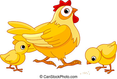 Mother hen with its baby chicks
