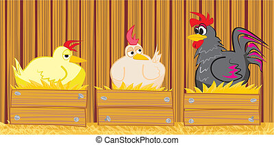 hen and cock in the barn - poultry in yhe henhouse, early...
