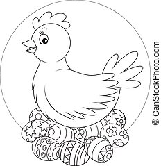 Hen and Easter eggs - Hen sitting on painted Easter eggs