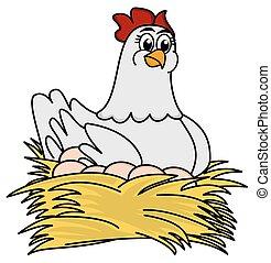 hen brooding eggs