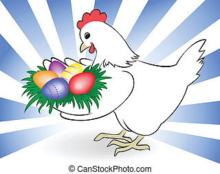 white chicken keeps a nest with colored eggs
