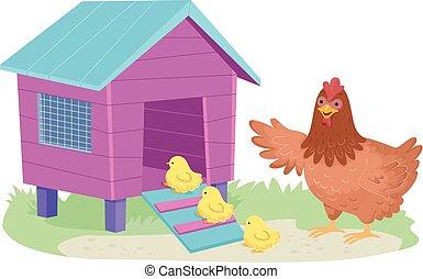 Hen Chicks Chicken Coop Illustration