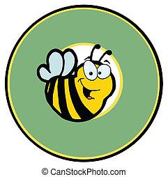 hen, cirkel, grønne, smil, bi
