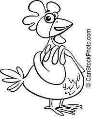 hen farm animal character cartoon color book