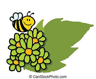 hen, flyve, grønne, daisies, bi