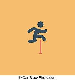 hen, forhindringer, figur, springe, mand