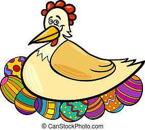 hen hatching easter eggs cartoon illustration