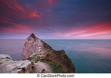 hen, havet, dramatiske, atlantisk, cliffs, solopgang
