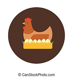 Hen in a nest with eggs. Poultry farm vector flat illustration