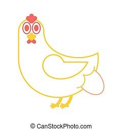 Hen lays an egg. chicken and eggs. Farm bird