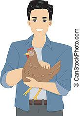 Hen Man - Illustration of a Man Holding a Hen