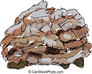 Hen of the woods, illustration, vector on white background.