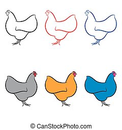 Hen set in different colors vector illustration