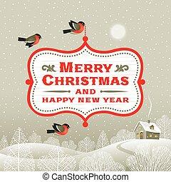hen, signboard, jul, landskab, vinter
