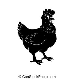 hen silhouette cartoon character vector design isolated on white background