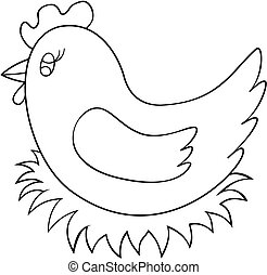 Hen sitting on nest coloring book page. Chicken outline vector illustration.